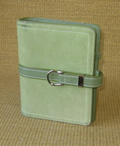 Compact Franklin Covey Green Suede Leather 1 25 Rings Open Planner binder