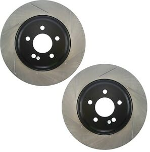 Pair Set 2 Front Stoptech Slot Disc Brake Rotors For Ford Mustang Cobra Mach I