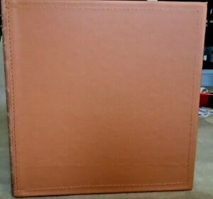Chestnut Leather 2 3 Ring Binder Hieroglyphics Embossed Leather Spine Trim