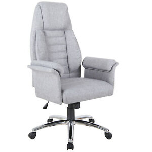Executive Chair Office High Back Padded Swivel Computer Seat Ergonomic Grey