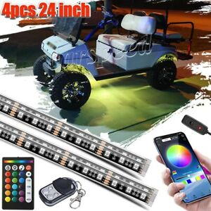4pcs 24 Golf Cart Led Neon Light Under Glow Body Strip For Caddy Club Car Ezgo