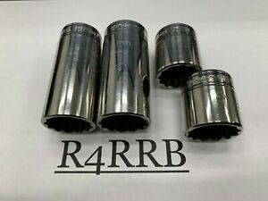 4pc Add On Snap On Tools Usa 3 8 Drive 12 Point Sae 15 16 1 Socket Lot Set