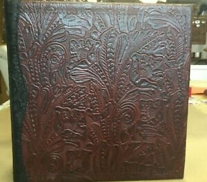 Dark Maroon Western Leather 2 3 Ring Binder Black Western Trim Snakeskin Lining
