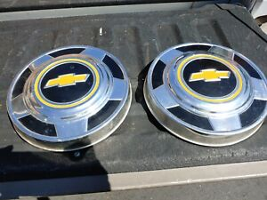 Vintage Chevy Truck Hubcaps 2 10 3 4 Dog Dish 1970 S Chevrolet