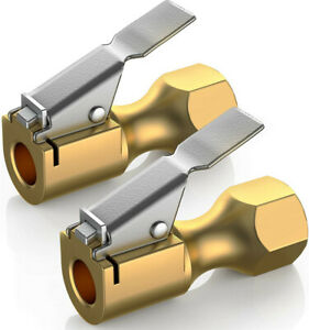 2pcs Air Chuck Heavy Duty Open Flow Lock With Clip For Inflator Gauge