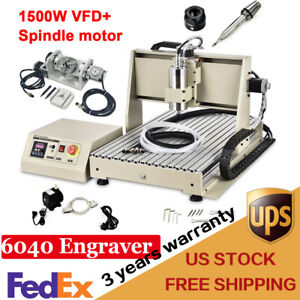 Usb 6040 5 Axis Cnc 1500w Router Engraver Wood Milling Carving Drilling Machine