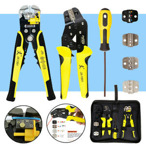 Ratcheting Wire Terminal Crimpers Crimping Pliers Cord End Tool Carry Bag 4 In 1