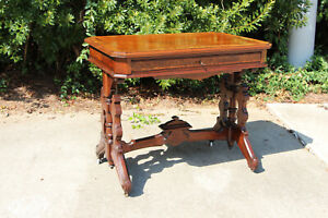 Burl Walnut Victorian Library Table Drafting Writing Desk With Lift Top Ca 1870