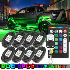 Rgb Underglow For Offroad Car Truck Boat 8 Pod Neon Led Rock Light Kit Control