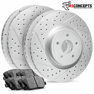 For 2011 2014 Ford Mustang Full Kit R1 Carbon Geomet Drill Slot Brake Rotors Pad