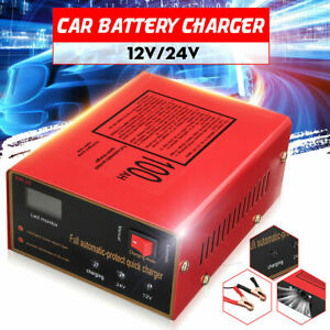 Car Motorcycle Lead Acid Battery Charger Full Automatically 12v 24v 10a Us