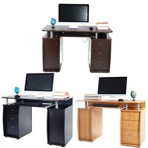 Coner Computer Desk Office Study Pc Writing Table Home Furniture W 3 Drawers