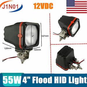 2x 4inch 55w 12v Xenon Hid Work Light Offroad Truck Tractor Boat Flood Square