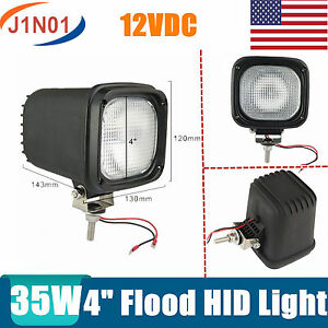 2x 4inch 35w Xenon Hid Work Light Flood Atv Ute Offroad Tractor Lamp 12v Square