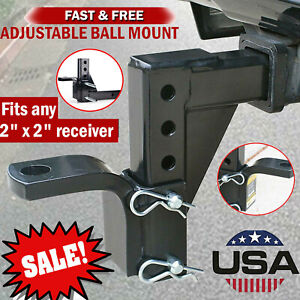 Adjustable Dual Ball Mount Drop Hitch Tow 2 In Receiver Heavy Duty Tow Truck Rv