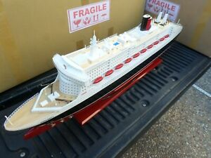 Queen Mary Ii High Quality Wooden Model Ship With Led Lights 40 Fully Assembly