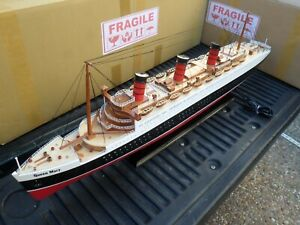 Queen Mary High Quality Wooden Model Ship W Led Light 40 Minor Assembly Require
