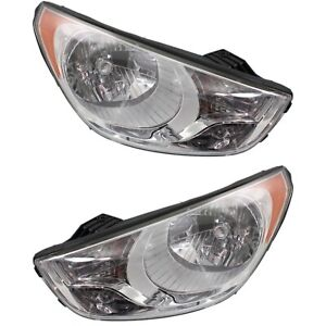 Headlight Set For 2010 2013 Hyundai Tucson Left And Right With Bulb 2pc