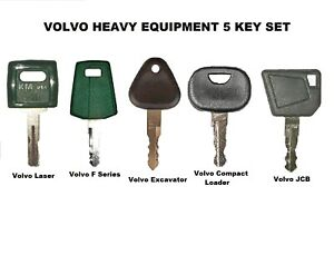 5 Key Set Volvo Heavy Equipment Ignition Keys With Laser Cut Key