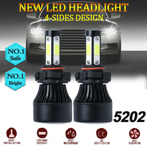 Pair 5202 2504 Led Fog Light Bulbs 6000k Xenon White 7600lm 60w High Power Drl
