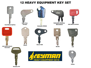 12 Heavy Equipment Ignition Key Set Jd Cat Case Bobcat Komatsu Jcb Hyster More