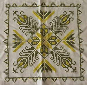 Vintage Cross Stitch Embroidered Linen Tablecloth Green On Creamy White 49