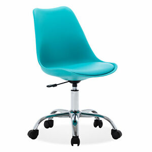 Armless Mid back Office Task Chair Leather Upholstery Height Adjustable Teal
