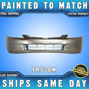 New Painted Yr538m Desert Mist Front Bumper For 2003 2005 Honda Accord Sedan