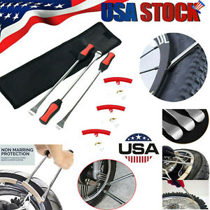 6pcs Tire Spoon Lever Iron Motorcycle Bike Kit W Rim Protectors