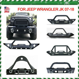Rock Crawler Front Bumper Winch Plate Cree Led Lights For 07 18 Jeep Wrangl