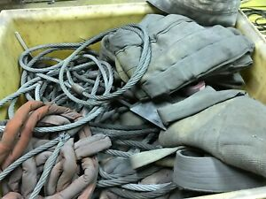 Large Crate Of Assorted Wire Rope Sling Vertical Choker Basket 1 1 8