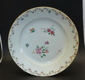 Sh16d Antique Chinese Export Floral Hand Painted Plate 9