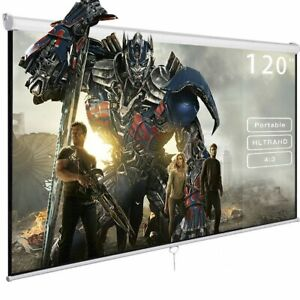 120 4 3 Manual Pull Down Auto lock Projector Projection Screen White 96 x72