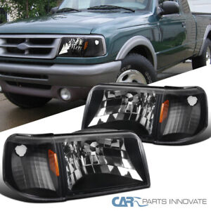 Black For 93 97 Ford Ranger Clear Lens Headlights corner Turn Signal Lamps Pair