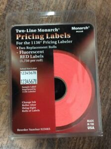 Two line Monarch Pricing Labels For 1136 Pricing Labeler Fluorescent Red 1750