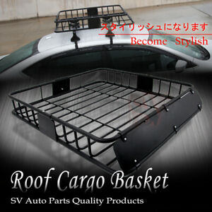 Fit Jeep Rooftop Basket Cargo Carrier Roof Rack Mount Luggage Storage Holder