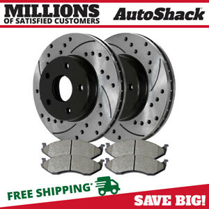 Front Drilled Slotted Rotors And Metallic Pads For 1999 2005 2006 Jeep Wrangler