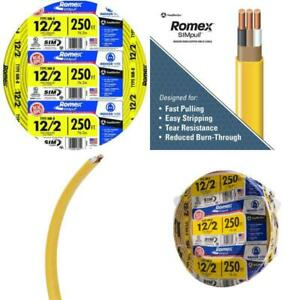 250 Ft 12 2 Solid Romex Simpull Cu Nm b W g Wire Residential For Outlet New
