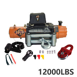 12000lb Electric Recovery Winch Wireless W Roller Fairlead For Truck Off Road