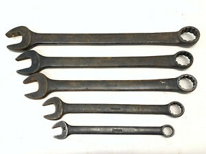 Snap On 5pc 12 Point Sae Flank Drive Standard Combination Wrench Set Assorted