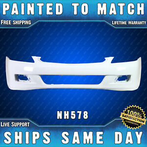 New Painted Nh578 White Front Bumper Cover For 2006 2007 Honda Accord Sedan 4dr