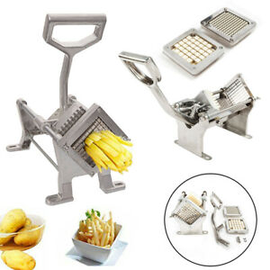 Aluminum Alloy French Fry Cutter Potato Vegetable Slicer Chopper Tool W 2 Blades