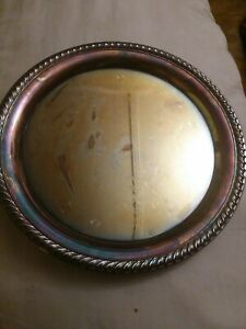 Wm Rogers Silverplate Etched Serving Tray Rope Braid Edge 870 10 1 4