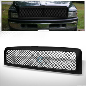 Fit 94 01 02 Dodge Ram Matte Black Mesh Front Hood Bumper Grill Grille Guard Abs