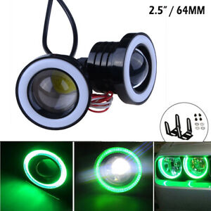 2 5 64mm Cob Green Fog Light Projector Car Lamp Halo Angel Eyes Led Universal