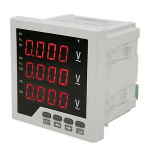 Multifunction 3 phase Electric Voltage Power Meter Led Display V A Hz Kwh Rs485