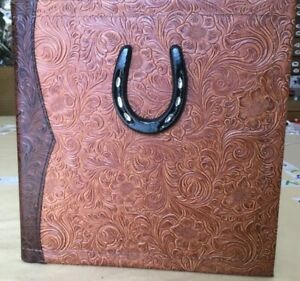 Chestnut Chocolate Western Leather 2 3 Ring Binder Mini Sz Iron Horseshoe