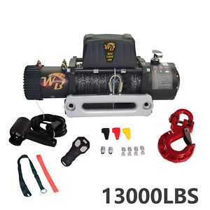 13000lb Nylon Rope Electric Recovery Winch Wireless Remote For Truck Suv Offroad