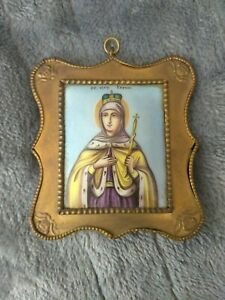 Rare Russian Antique Painting On Porcelain Plaque Signed In Frame