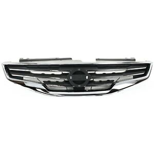 Grille For 2010 2012 Nissan Altima Sedan Chrome Shell W Black Insert Plastic